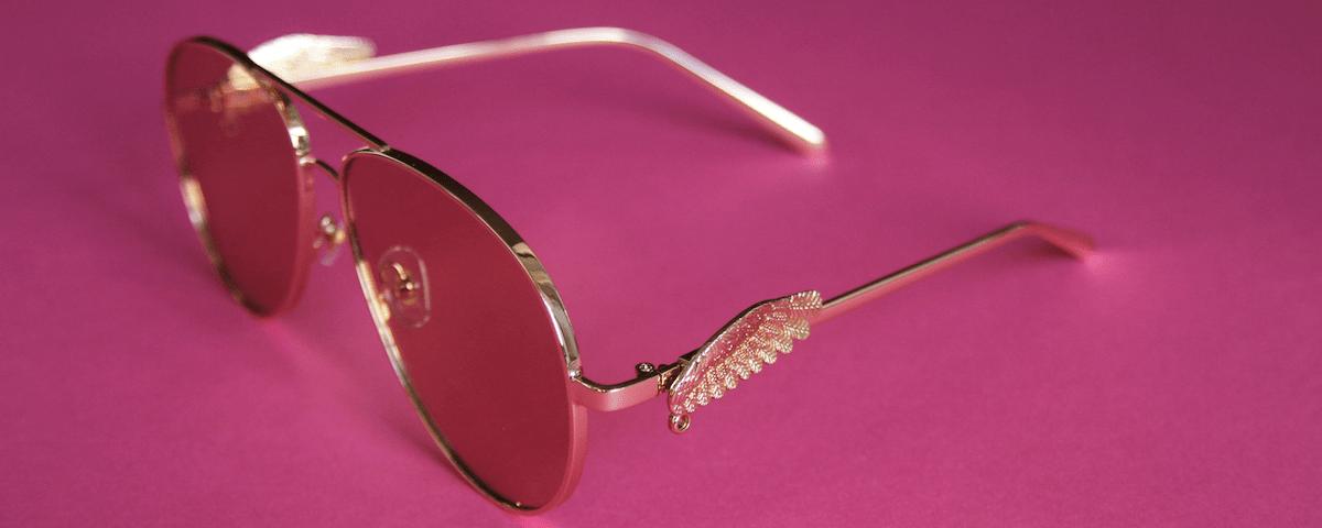 золотые солнцезащитные очки фото